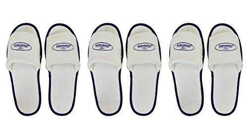 [Open Toe White Pevonia Spa Slippers / Hotel Slippers (3 Pairs)] (Gopher Costumes)