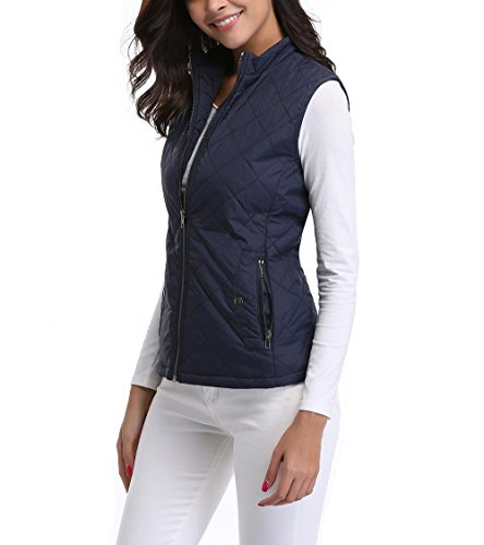 MISS MOLY Women's Zip up Stand Collar Lightweight Quilted Gilets Packable Padded Vest w 2 Side Zip Pockets L - Quilted Side Zip Coat