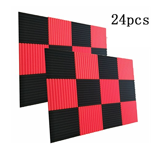 (24 Pack- Black/Red Acoustic Panels Studio Foam Wedges 1