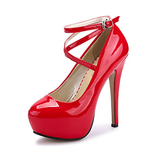 Women's Ankle Strap Platform Pump Party Dress High Heel #10 PU Red Tag 38 - US B(M) 7 -