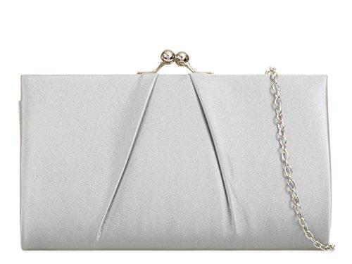 Wedding Silver Satin Prom Handbag Purse Women's Bag Clutch LeahWard xcPgqwOTUn