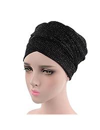 Stretch Turbans for Women Wrap Cap Muslim Long Hair Head Scarf by WOCACHI