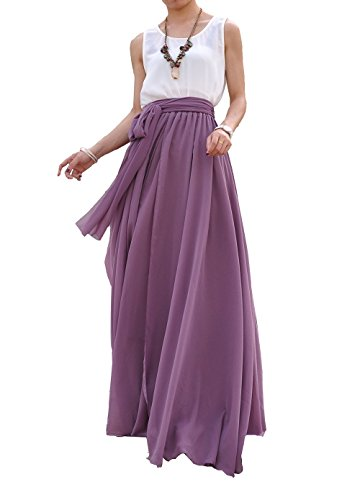 MELANSAY Women's Beatiful Bow Tie Summer Beach Chiffon High Waist Maxi Skirt XL,Orchid