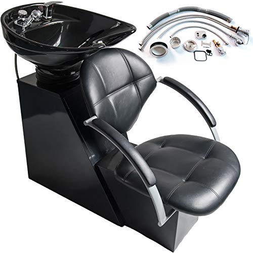 (Chair Wash Hair Professional Beauty Salon Station Backwash Shampoo Ceramic Bowl Unit Sink Chair Commercial Beauty Spa Salon Equipment, Home Spa)
