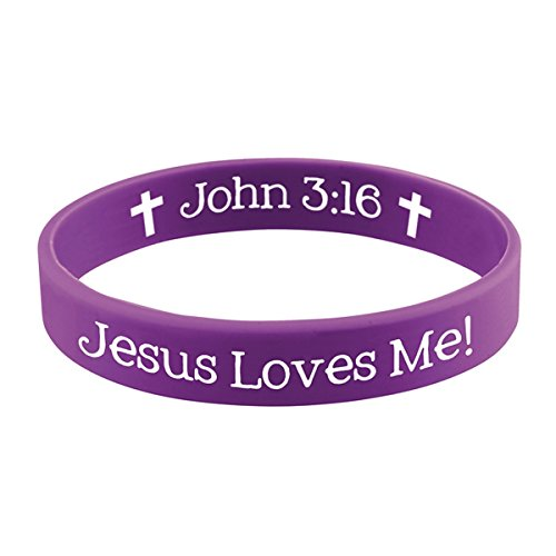 (Jesus Loves Me Christian Religious Rubber Bracelet with Card, 2 1/4 Inch)