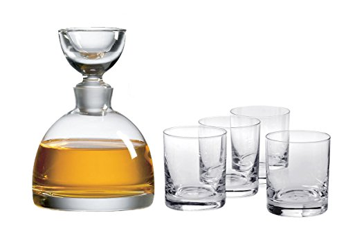 Ravenscroft Crystal Tradewinds Decanter Limited Edition Gift Set. Includes One (1) 35.5-ounce Handmade, Lead-free Tradewinds Decanter and Four (4) Classic Double Old Fashioned Tumbler Glasses