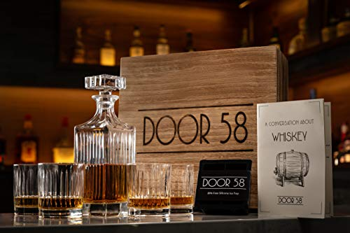 (Door 58 Whiskey Decanter Set w/Glass Drink Tumblers (5-Pcs.) Bourbon, Scotch, Brandy, Rum, Liquor | Lead-Free Crystal | Guide to Whiskey Booklet, Handmade Wooden Box, Silicone Ice Cube Mold)