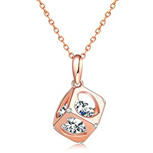 KOREA-JIAEN Pendant Neckalce14K White Gold Plating Sterling Sliver Love Magic Cube Zircon Pendant Necklace