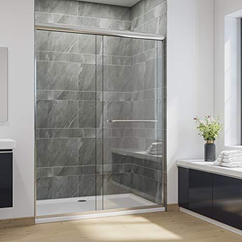 SUNNY SHOWER Glass Shower Door Semi-Frameless Shower Enclosure 1/4