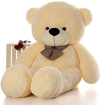 SABA SALES Soft 4 Feet Teddy Bear With Neck Bow  122 Cm Cream  Plush Animals   Figures