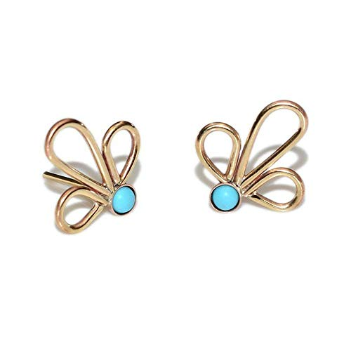 Gold 3mm Turquoise Post Earrings/Tiny Stud Earrings, Turquoise Earring ()
