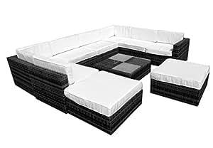 Tejido RARTTAN al aire libre muebles de jardín porche Patio Modular juego de sofá gris