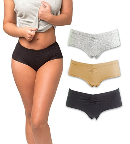 Emprella Women's Boyshort Panties (3-Pack) Comfort Ultra-Soft Cotton Underwear (Large, Assorted)