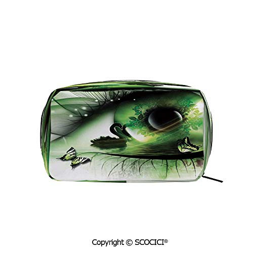 Rectangle Beauty Girl And Women Cosmetic Bags Abstract Natural Artwork with a Swan Floating in the Eye and Flying Butterflies Printed Storage Bags for Girls Travel