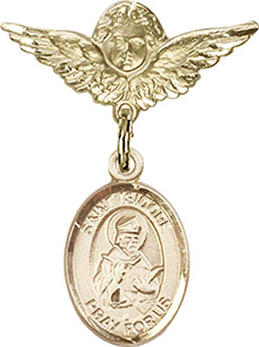 14kt Gold Filled Baby Badge with St. Isidore of Seville Charm and Angel w/Wings Badge Pin St. Isidore of Seville is the Patron Saint of Computers/Internet 1 X 3/4