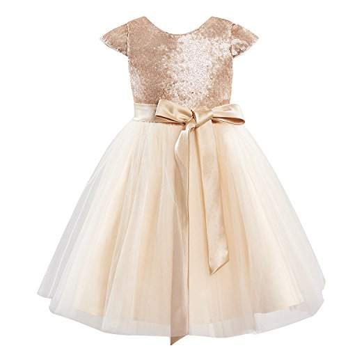 Dresslane Champagne Sequin Tulle Wedding Flower Girl Dress Cap Sleeves