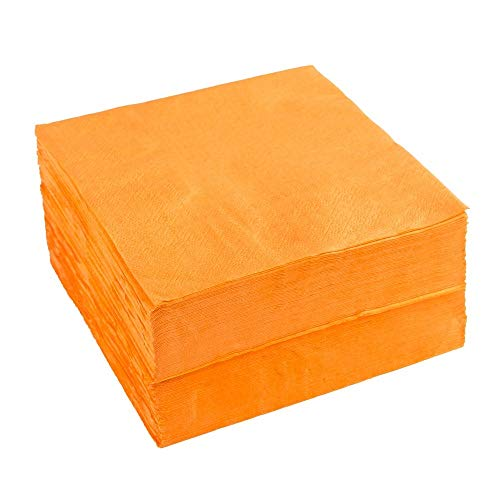 napkins noble orange color wedding Napkins, Orange Napkins Cocktail Napkins Touch of 2-Ply 50 Count Paper Lunch Napkins(100pcs) by Nursetree (Red Orange Napkins)