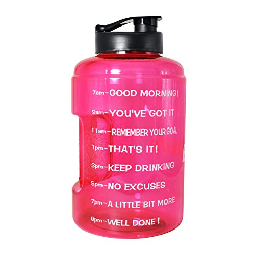 1 Gallon(128OZ) Water Bottle Inspirational Fitness Workout Sports Water Bottle with Time Marker Times for Measuring Your H2O Intake, BPA Free Non-Toxic,Leak Proof Lid (1 Gallon, Pink)