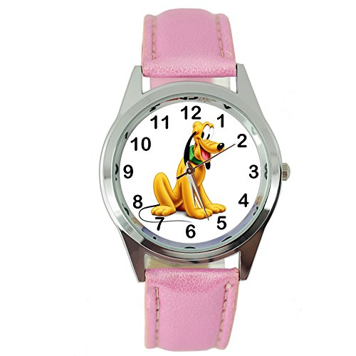 TAPORT Pluto Dog Quartz Watch Disney Leather Pink Band + Spare Battery + Gift Bag