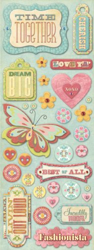 K & Company Wild Raspberry Adhesive Chipboard - Words