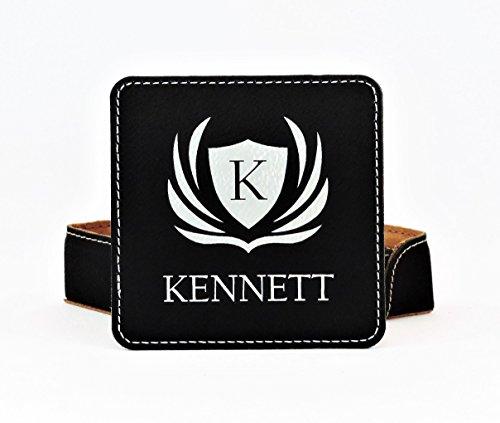 - Personalized Coasters, Black Engraves Silver, Custom Drink Coaster Set Monogramed