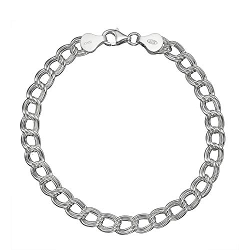 Solid 925 Sterling Silver 7mm Italian Double Link Chain Bracelet for Charms - -