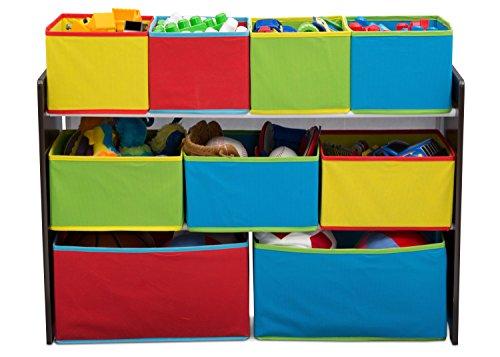 41vKGks gfL - Delta Children Deluxe Multi-Bin Toy Organizer with Storage Bins, Dark Chocolate/Primary Colored