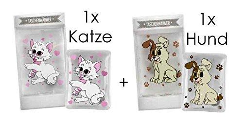 2er Pack Taschenwärmer (Katze + Hund) - Wichtelgeschenk - Handwärmer - Taschenheizkissen