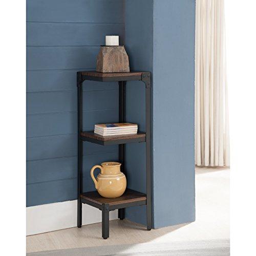K and B Furniture Co Inc Metal Wood Antique Walnut 3 Tier Corner ()