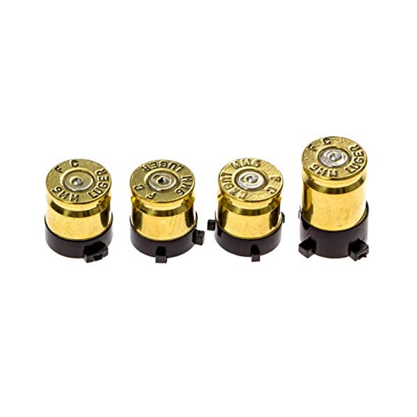 Xbox One Bullet Buttons Raplacement A B X Y Real Bullet Brass Casings Gold Brass w/ Silver Nickel Primer 4