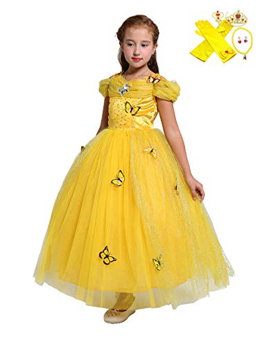 Lito Angels Girls Princess Belle Dress Up Costume Halloween Fancy Dress with Accessories Size -