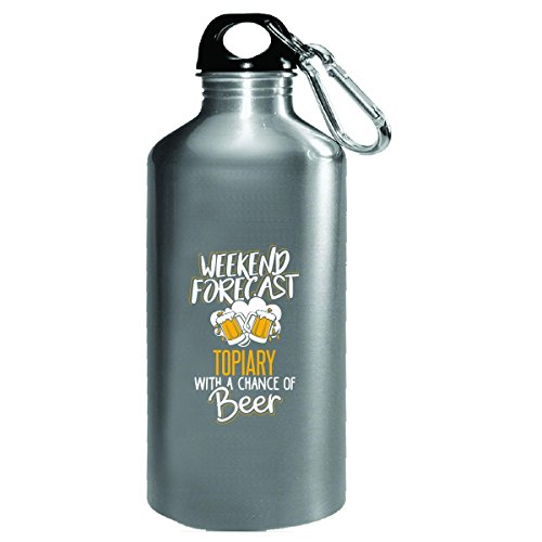 Gift For Topiary Beer Lovers Weekend Forecast Present - Water Bottle