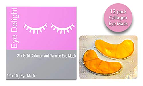 12 Ultra Hydrating 24k Gold Collagen Under Eye Mask With Hyaluronic Acid – Anti Aging, Reduce Fine Lines, Dark Circles & Puffy Eyes 12 Patches included