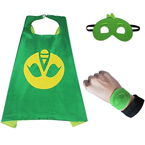 3pcs/set PJ Masks Cloak Cape and Mask Owlette Catboy Gecko Cosplay Action Toys For Children (Green)