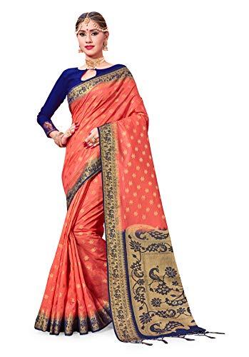 for Women's Banarasi Art Silk Woven Work Saree l Indian Wedding Ethnic Sari & Blouse Piece (Coral) ()