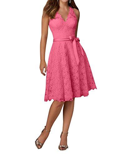 Partykleider Knielang Kleider Wassermelon Elegant Brautjungfernkleider Brau Guertel Spitze La Jugendweihe Abendkleider mia mit qgtwYY