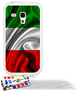 """Carcasa Flexible Ultra-Slim SAMSUNG GALAXY S3 MINI ( I8190 ) de exclusivo motivo [Bandera italia] [Blanca] de MUZZANO  + 3 Pelliculas de Pantalla """"UltraClear"""" + ESTILETE y PAÑO MUZZANO REGALADOS - La Protección Antigolpes ULTIMA, ELEGANTE Y DURADERA para su SAMSUNG GALAXY S3 MINI ( I8190 )"""