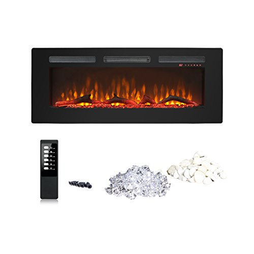 Innoflame Electric Fireplace 50IN Embedded Fireplace, Black Tempered Glass,Wide display window, Touch Panel Hanging (Cambridge Electric Fireplace)