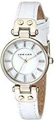 Anne Klein Women's AK/1950MPWT Gold-Tone Watch with White Leather Strap