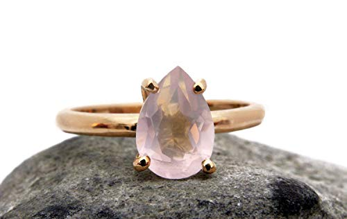 Anemone Unique 14K Rose Gold Ring - Elegant Pink Rose Quartz Stone Ring For Women - With Engraving & Free Fancy Ring Box [Handmade Jewelry]