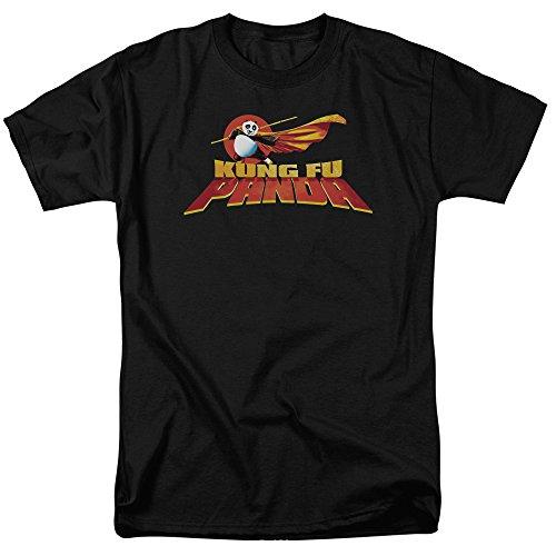 Trevco Men's Kung Fu Panda Short Sleeve T-Shirt, Logo Black, Medium