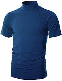 Mens Slim Fit Soft Cotton Short Sleeve Pullover Lightweight Turtleneck Warm Inside