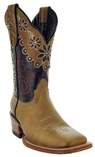 Soto Boots Daisy Duke Women's Broad Square Toe Cowgirl Boots M50034 (Tan, 9) ()