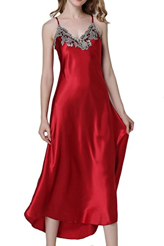 - Asherbaby Women's Nightdress Satin Nightgowns Long Chemise Sleepwear Red XL