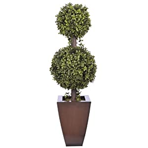 House of Silk Flowers Artificial 2.5-foot Double Ball Topiary in Dark Copper Zinc 65