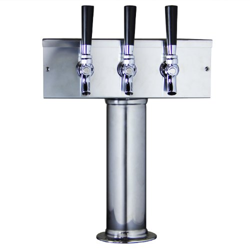 Kegco D7743PSS Stainless Steel T-Style Triple Tap Faucet Draft Beer Tower - 3 Inch Column
