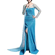 AE1 Adult Elsa Dress Snow Queen Snowflake Halloween Costume Cosplay S-XXL USA (XL)