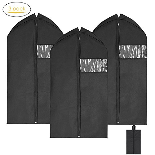 Garment Bags Suit Bag for Men Travel, Magicfly 42 Inch Hanging Suit Covers Full Zipper Pack of 3 (Black)