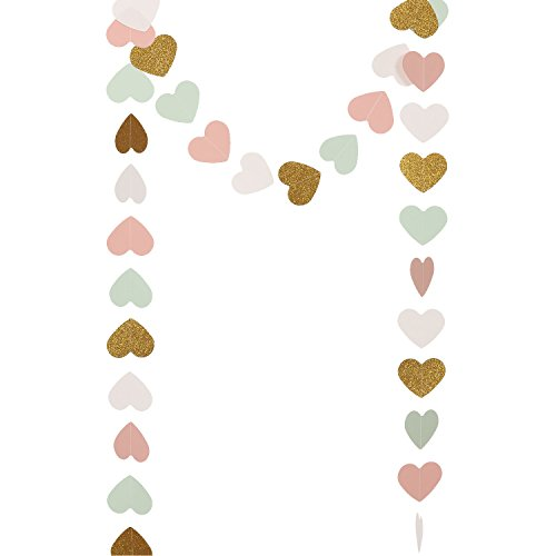 [Ling's moment Paper Heart Garland (Gold Glitter+Pink+White+Mint), Hearts Hanging Decorations for Wedding, Baby Shower, Festival Items & Party Decorations, 9 Feet] (Party Decoration Items)
