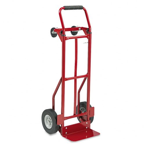 Safco : Two-Way Convertible Hand Truck Cart, 500-600lb Capacity, 18w x 51h, Red -:- Sold as 2 Packs of - 1 - / - Total of 2 Each (Hand Convertible Truck Way Two)